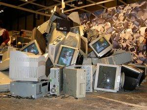 pile of old monitors